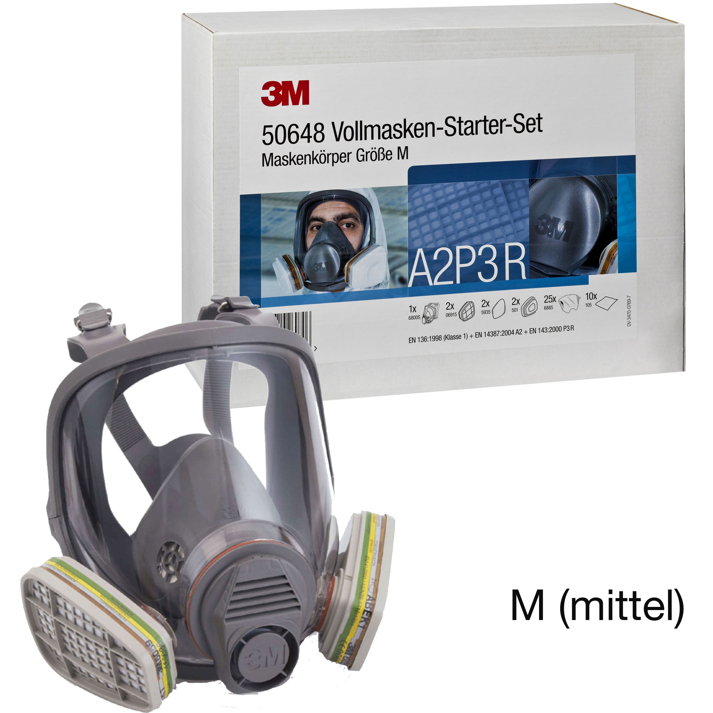 3M 6800Kit (50648) Starterkit Atemschutz-Vollmaske, Maskenkörper aus Silikon, A2P3, Grösse M (mittel)